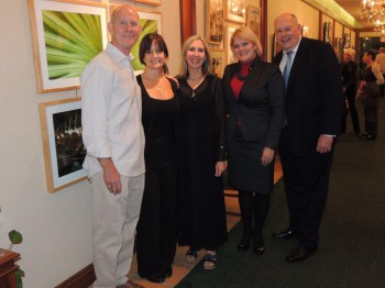 Tom Smith, Mary Scott Russell (President South Miami Chamber of Commerce), Elizabeth Kuehner-Smith, Veronica Flores (Executive VP FNBSM), and Bruce W. MacArthur (Chairman of the Board FNBSM)